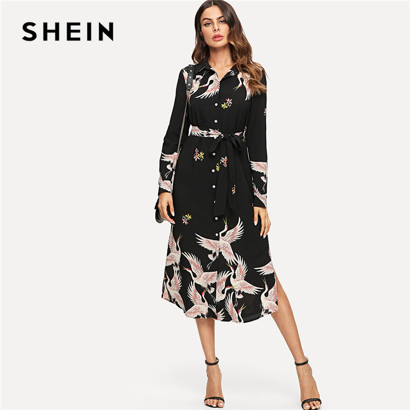 40ab526f7be SHEIN Multicolor Minimalist Classic Streetwear Red crowned Crane Self Belted  Slit Hem Shirt Dress Autumn Women Casual Dresses-in Dresses from Women's ...