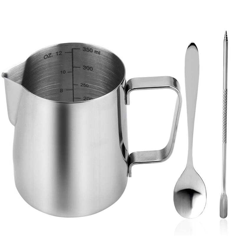 4 Uds. Accesorios de café de 58Mm de acero inoxidable para café con 12Oz de espuma y cuchara de café y lápiz de Arte Latte