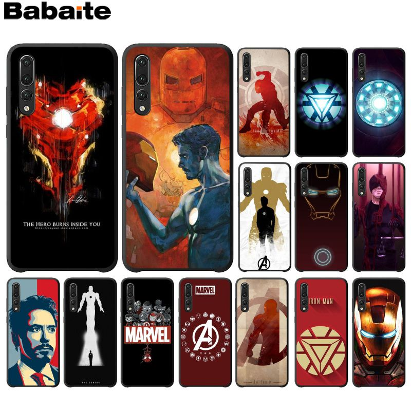 Babaute <font><b>Marvel</b></font> Iron Man Black TPU Soft <font><b>Phone</b></font> <font><b>Case</b></font> Cover for Huawei Mate10 <font><b>Lite</b></font> P20 Pro P9 P10 Plus Mate9 10 <font><b>Honor</b></font> <font><b>9</b></font> 10 View 10 image