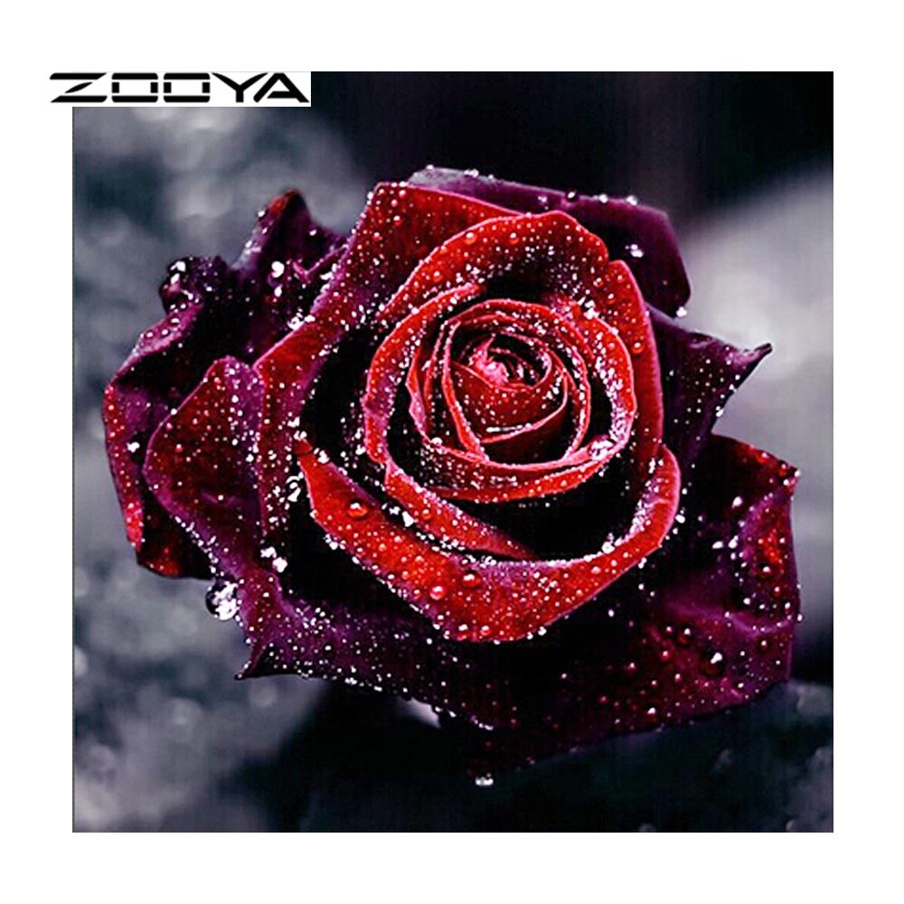 ZOOYA Diamond Painting Full Square Violett Rose Creative Diamond - Konst, hantverk och sömnad