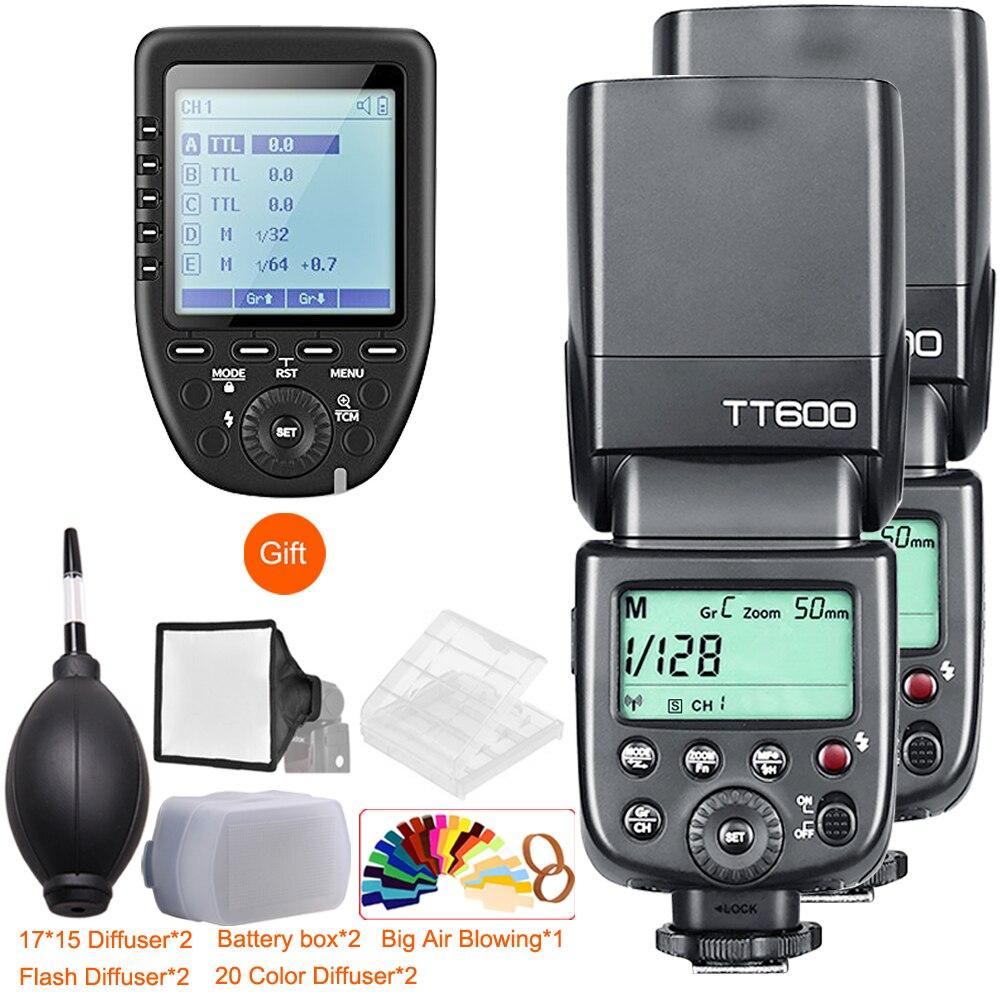 Godox 2x TT600 2.4g беспроводное устройство GN60 мастер/Slave камера Вспышка Speedlite с Xpro триггер для Canon Nikon sony Pentax Olympus Fuji
