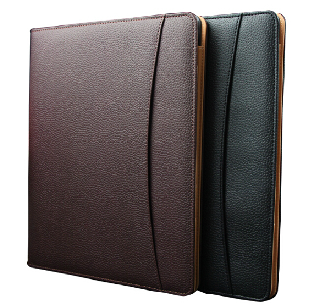 Brown PU Leather Document Case A4 Notepad Professional Business Paper File Organizer Holder for Office Supplies