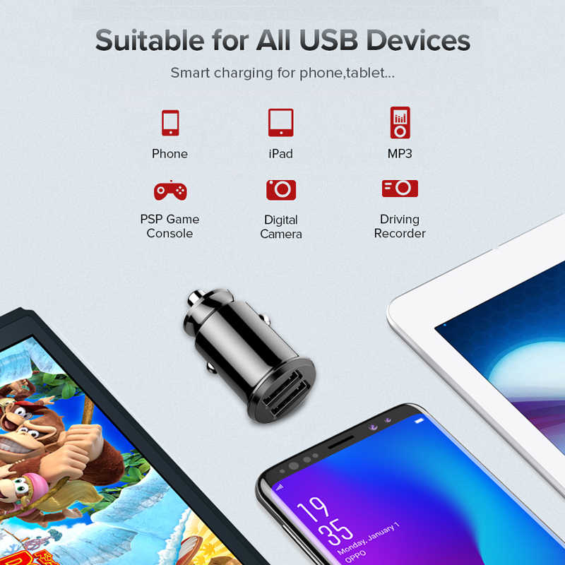 Mini Charger Mobil untuk iPhone Samsung Xiaom Huawei 3.1A Mobil Cepat Pengisian Dual 2 Port USB Charger Mobil USB Ponsel charger Telepon
