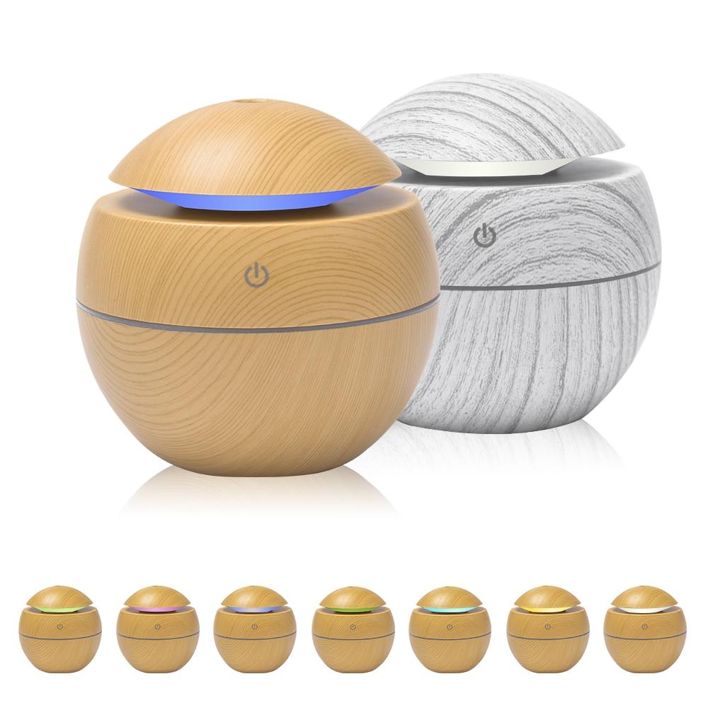Mini Air Humidifier Ultrasonic USB Aroma Diffuser Wood Grain LED Night Light  Electric Essential Oil  Diffuser Aromatherapy