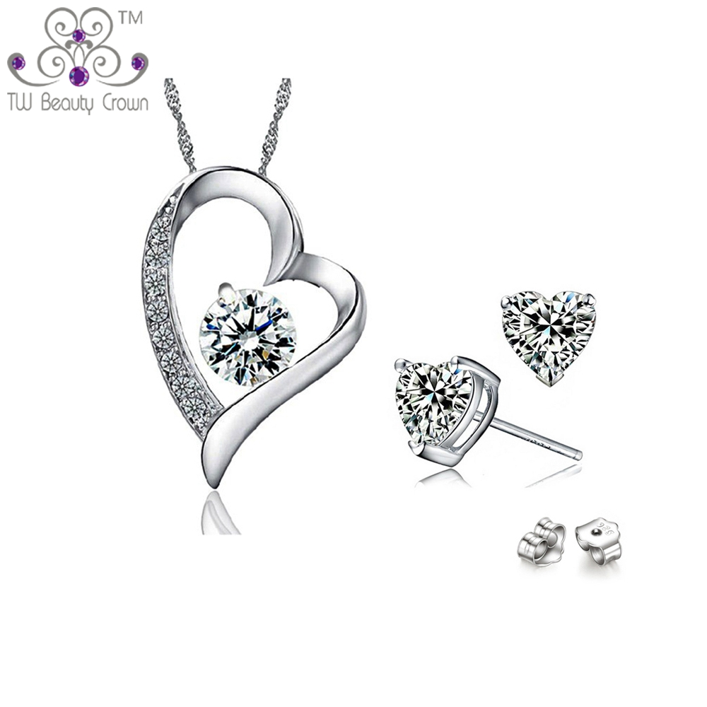 Real 925 Sterling Silver Simulated Diamond AAA Swiss Crystal Zirconia Heart Pendant Necklace Earrings Jewelry Sets