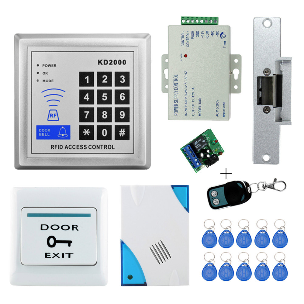 door bell access control system kit set with electric strike lock+DC12V power supply+door exit switch+10pcs key chains best high quality of dc 12v 5a power supply for access control system kit switch electric power