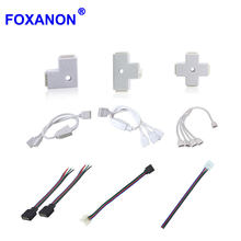 Foxanon Tira led Light Connect Adapter Cable PCB Clip Solderless For 3528 5050 5630 RGB Strip Lights 4pin 10mm Extension Connect(China)
