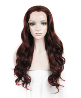 Imstyle Deep Wave wine red brown 24 inches synthetic Lace Front Wigs for women