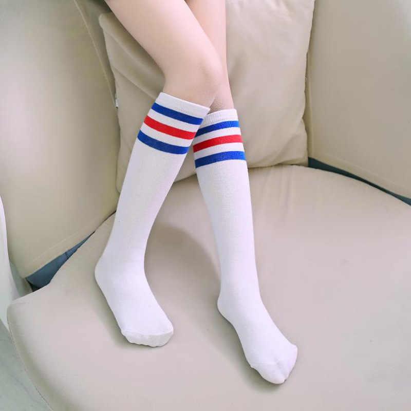 Calzas brillantes dulces niñas niños rodilla alta negro blanco rayas algodón niños medias escuela blanco deporte chica pantimedias botas