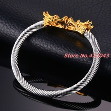 New fashion womens mens 316L stainless steel punk Gold dragons 6mm clasp twist Silver cable wire open bracelet pulsera jewelry
