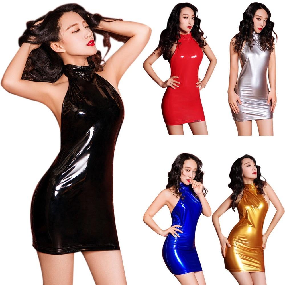 8aa81fb167151 Sexy Women Metallic Wet Look Bodycon Halter Neck Backless Mini Dress PVC  Vinyl Shiny Party Night Fetish Clubwear