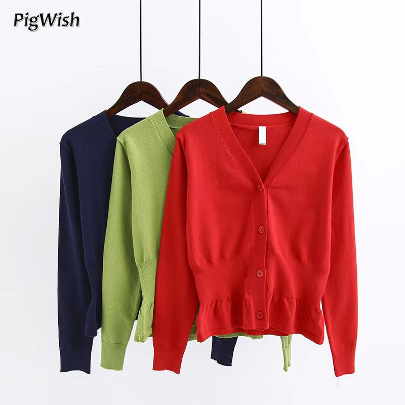 2018 Spring Cardigan Sweater Women Short Style Long Sleeve Knitwear Tops Coat