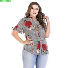 Limited Regular Casual Woven Button Stand Blusas Blusa Korean New Big Size Womens Fat Mm Print Slim Sleeved Collar Shirt