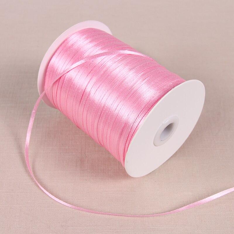 3 мм атласные ленты 22 м/лот DIY ручной работы товары для украшения свадьбы, дня рождения Подарочная упаковка белые ленты - Цвет: Medium Pink