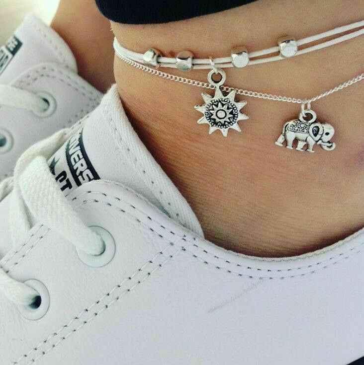 2019 Новые ножные браслеты Модные Винтажные несколько слоев для женщин слон Солнечный кулон талисманы Веревка Цепь Пляж Лето ноги лодыжки Bracel