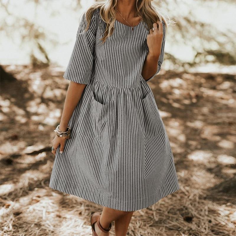 €14.27 34% СКИДКА|Женское свободное платье в полоску с круглым вырезом, повседневное пляжное платье из хлопка и льна с карманами, большие размеры, лето 2019|Платья| |  - AliExpress