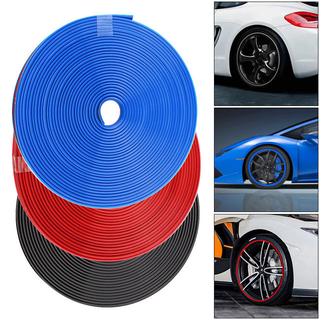 3 Colors 8M PVC Protective Rubber Strip Anti Scraping Automobile Tires for 13 Inch-22 Inch Car Atuo Tires