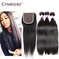 7A Malaysian Straight Hair 3 Bundles With Closure Unprocessed Malaysian Virgin Hair With Closure Natural Human Hair With Closure