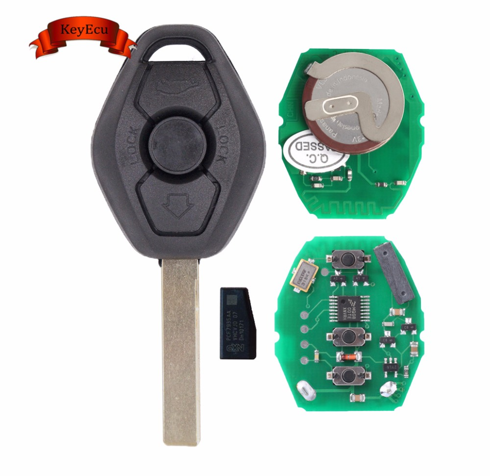 KEYECU Rechargeable Remote Key Fob 3 Button 433.92MHz ID44 Chip for BMW 3 5 X series HU92 Blade