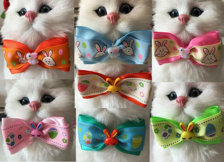 120pcsLot Big sale Easter Festival Pet Dog puppy Cat Rabbit Bow Ties Neckties Bowknot Grooming Products Mixed style Y181802