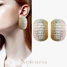 Newness 40mm BIG Luxury Geometric CZ Cubic Zircon Nigeria Earrings for Women Wedding moda
