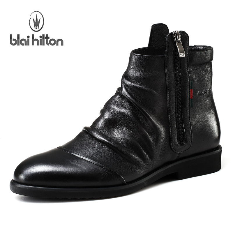 Blai Hilton 2017 Autumn/ Winter men shoes Genuine Leather boots Breathable/Comfortable British Style Men's Casual Martin Boots