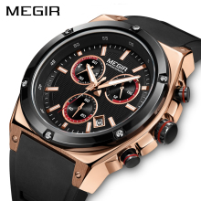 лучшая цена MEGIR New Sport Men Watch Top Brand Luxury Silicone Army Military Chronograph Quartz Watches Men Relogio Masculino Wristwatch