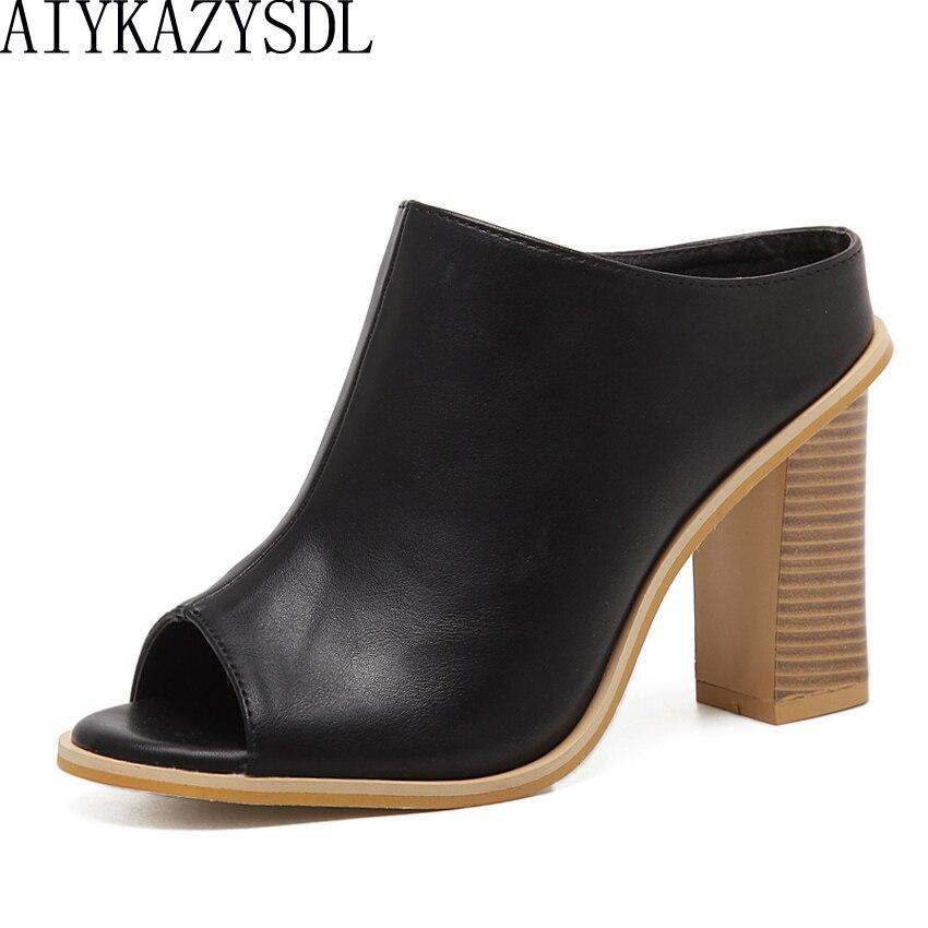 AIYKAZYSDL Women Pumps Peep Toe Sandals Faux Leather Mules Slides Wood Thick Square Block Heel Causal Shoes High Heel Flip Flops aiykazysdl summer women sandals thick