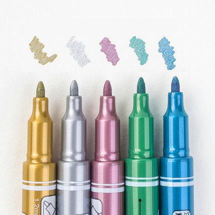 5PCS/LOT Metallic Marker Pen Glitter Graffiti Marker Signature Pen DIY Card Marker Paper