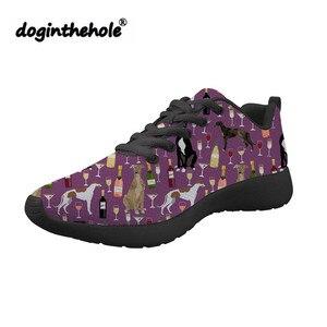 Doginthehole charty drukowanie buty damskie wiosna jesień mieszkania dla nastolatków buty codzienne wykonane z siatki panie płaskie buty trampki
