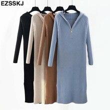 e30293a26b7e86 Ins dicken Langen pullover kleid frauen herbst winter mit kapuze pullover  kleid weibliche split side casual lange gerade kleid .