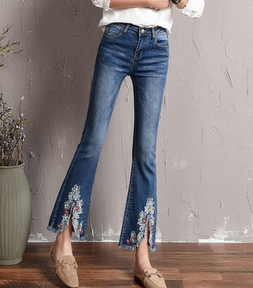 Flare pants for women plus size casual capris denim jeans embroidery autumn spring summer new fashion tassel trousers tyn0703 plus size pants the spring new jeans pants suspenders ladies denim trousers elastic braces bib overalls for women dungarees