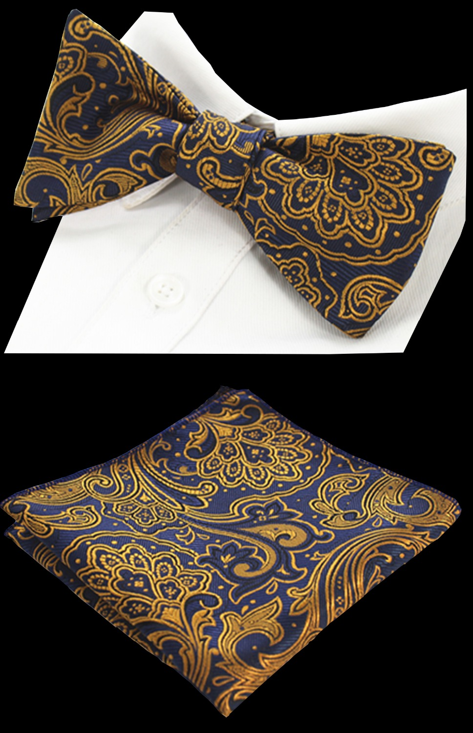 RBOCOTT Paisley Floral 100% Silk Jacquard Woven Bow Ties And Handkerchief Set Self Bowtie Hanky Set For Wedding Party