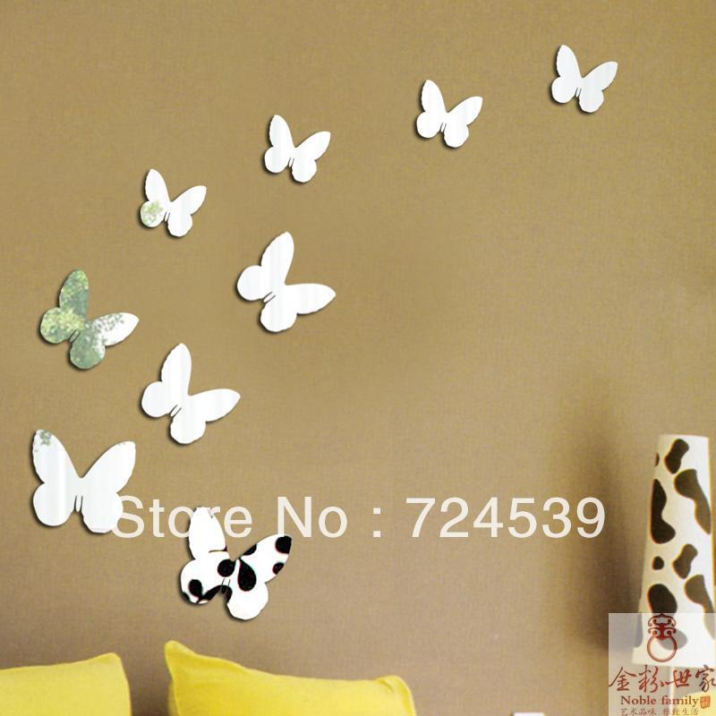 Free Shipping!3D Romantic Butterfly Mirror Wall Sticker Fashion Home  Decoration Diy New Style Mirror Stickers,Wall Decoration In Wall Stickers  From Home ... Part 38