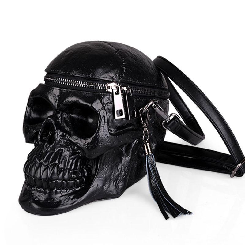 3D Skull Shoulder Bag Crossbones Messenger Bag Unisex Men Women Fashion Street Leather Zipper Handbags Punk