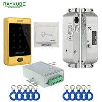 Kit de Control de acceso de puerta RAYKUBE Set cerradura eléctrica + lector de FRID de Metal táctil + llave de identificación