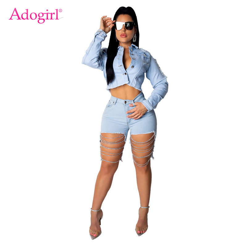 Adogirl Women Holes Chain Casual Jeans Two Piece Set Long Sleeve Jacket Crop Top + Knee Length Pants Fashion Denim Suits