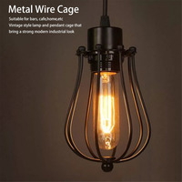 Vintage Lamp Covers Metal Wire Shades Antique Pendant LED Bulb Chandelier Cage Industrial Ceiling Hanging Guard