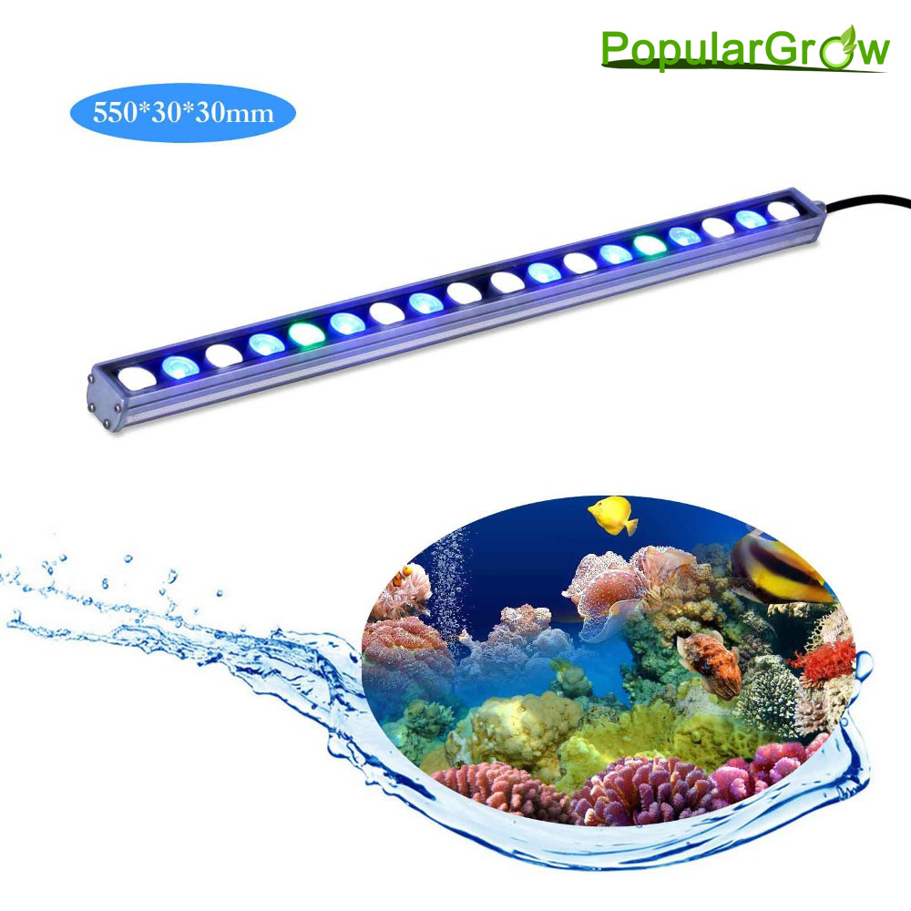 populargrow 5pcs/lot 54W waterproof Led Aquarium bar Light led strip lamp for coral reef growth fish tank lighting US/DE stock 10pcs lot 54w 18 3w waterproof led aquarium bar light strip lamp for reef coral growth plant fish tank lighting marine