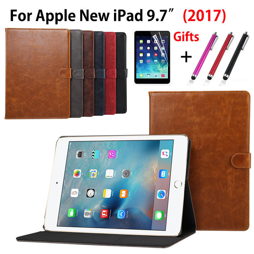 Luxury PU Leather Case For Apple New iPad 9.7 2017 A1822 Smart Cover Funda Tablet Sleep Wake Crazy Horse pattern Shell+Film +Pen case cover for goclever quantum 1010 lite 10 1 inch universal pu leather for new ipad 9 7 2017 cases center film pen kf492a