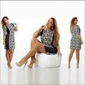 Большой размер 6XL 2016 Жира ММ Женщины платье Лето печати лоскутное мини платья плюс размер женская одежда 6xl платье