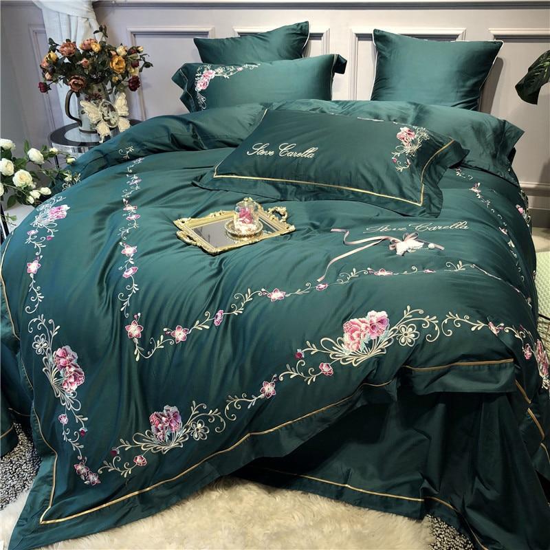 Queen ชุดเครื่องนอนหรูสีเขียวอียิปต์ผ้าคลุมเตียงผ้าฝ้าย/แผ่นติดตั้งปลอกหมอน gropa de cama/ linge de lit-ใน ชุดเครื่องนอน จาก บ้านและสวน บน   3