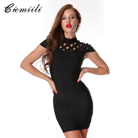 CIEMIILI 2017 Spring Turtleneck Elegant Women Bandage Dress Sexy Hollow Out Knee Length Evening Party Bodycon