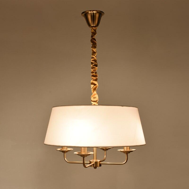 Copper-colored LED Morden Pendant light 4 Arms Chanderliar Fabrice shade ceiling light for Living Room Bedroom Dinning Room