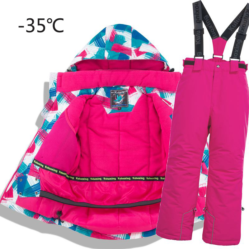 Children Thermal Ski Suit Waterproof Pants+Jacket Boy Girl Winter Sports Windproof Quality Kid Skiing And Snowboard  2pcs Suits