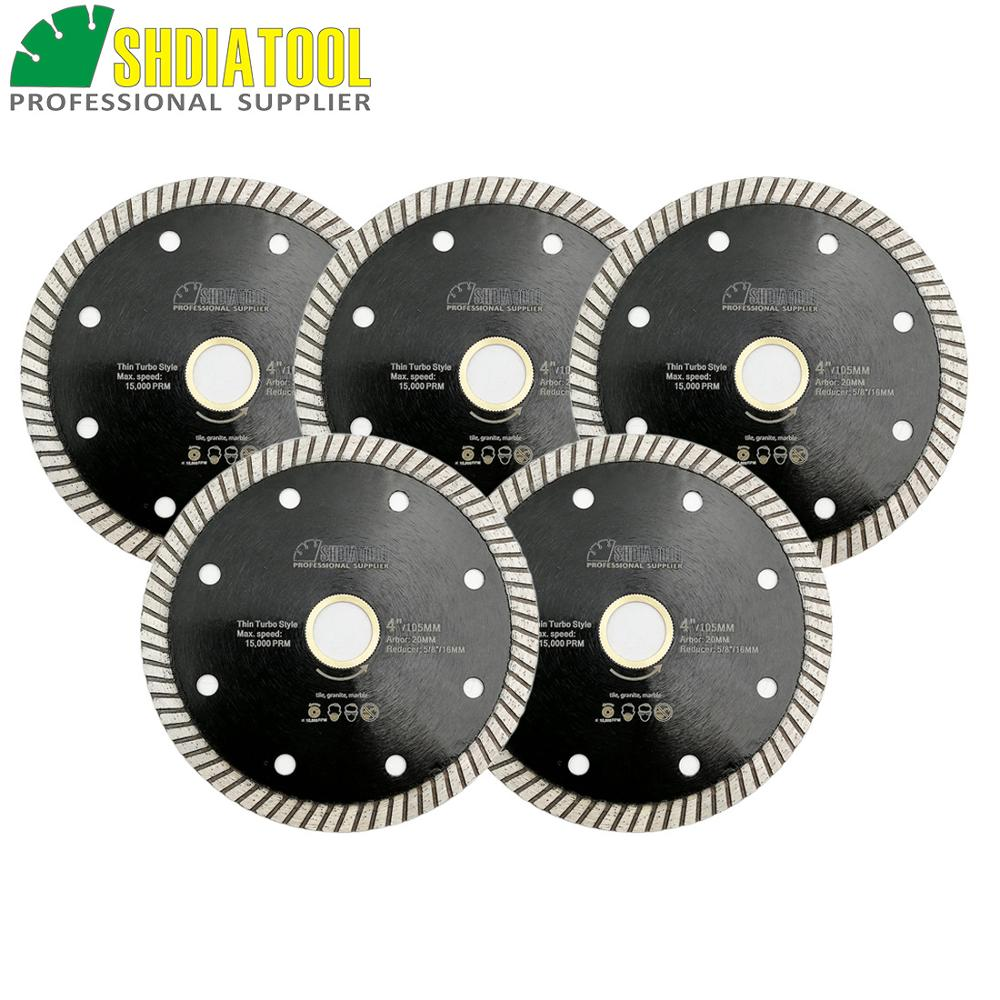SHDIATOOL 5pcs Diameter 105MM Diamond Hot Pressed Superthin Diamond Turbo Blade 8mm Segment Height Cutting Discs