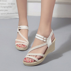 Women Female Wedge High Heels Open Toe Pumps Shoes Woman 2