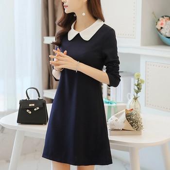 Women Dress A Line One-Piece Frock Slim Dress with Long Sleeve Peter-pan Collar Korean Style AIC88 a-line