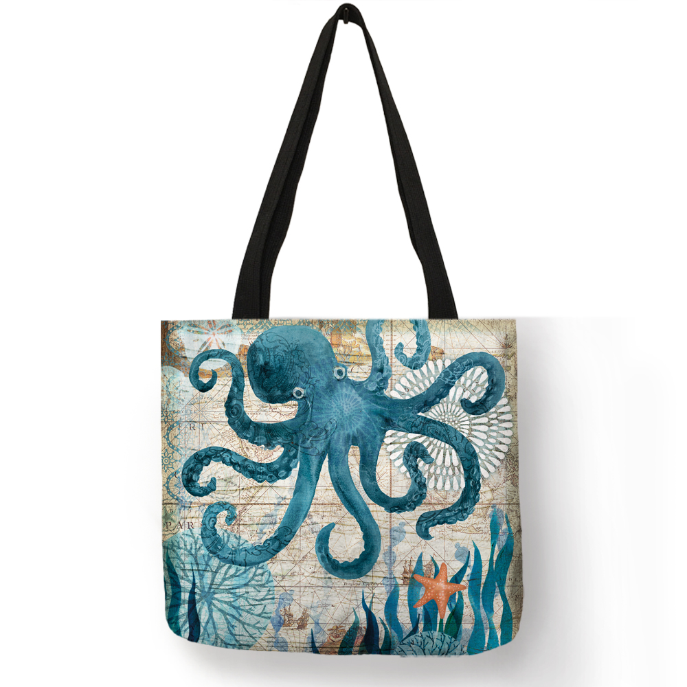 Customize Tote Bag Seahorse Turtle Octopus Pattern Traveling Shoulder Bags Eco Linen Shopping Bags For Women with Print 8