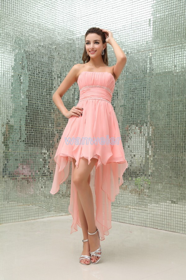 free shipping 2013 new design vestidos formale handmade brides maid custom After short before long short pink Bridesmaid Dresses